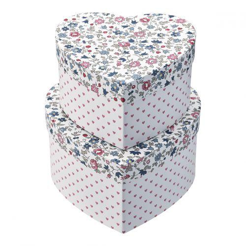 GREEN GATE / Úložný box Heart Ruby Petit White - set 2ks