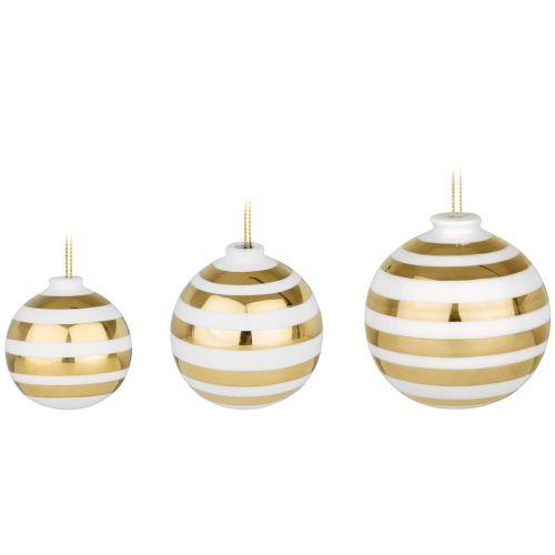 KÄHLER / Keramické vianočné ozdoby Omaggio Gold - set 3 ks