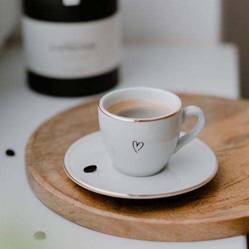 Bella Rose / Šálka na espresso s podšálkou Srdiečko
