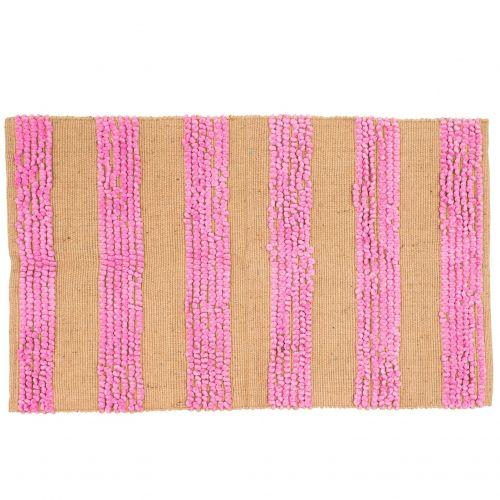 rice / Obdĺžnikový koberček Pink & Natural Stripes
