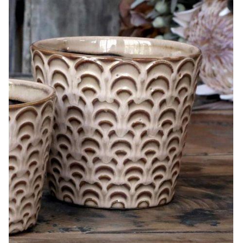 Chic Antique / Keramický obal na kvetináč Nîmes Latte 13 cm