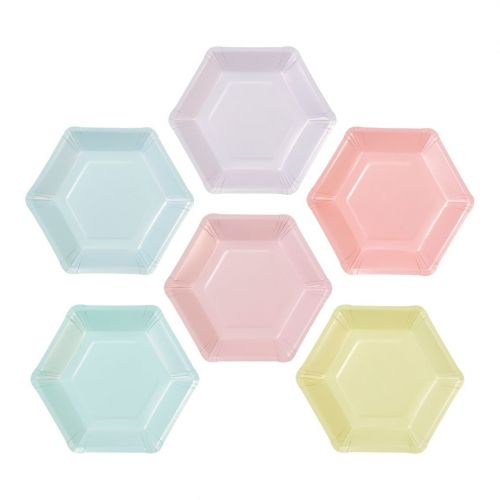 Talking Tables / Papierové tanieriky Pastel Hexagonal - 12 ks