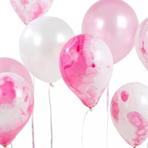 Talking Tables / Nafukovacie balóniky Pink Marble - 12 ks