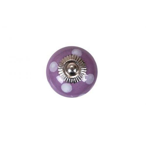 La finesse / Porcelánová úchytka lila/white dots - větší