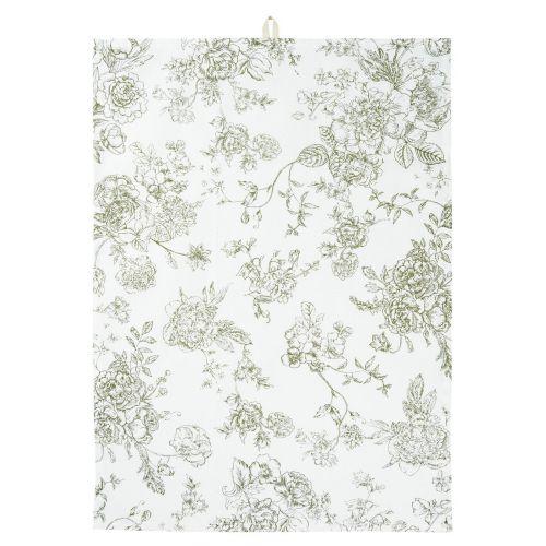 IB LAURSEN / Bavlnená utierka Green Flowers