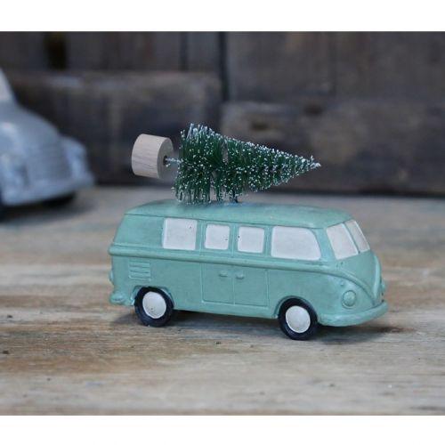 Chic Antique / Adventná dekorácia Green Hippie Van With Tree
