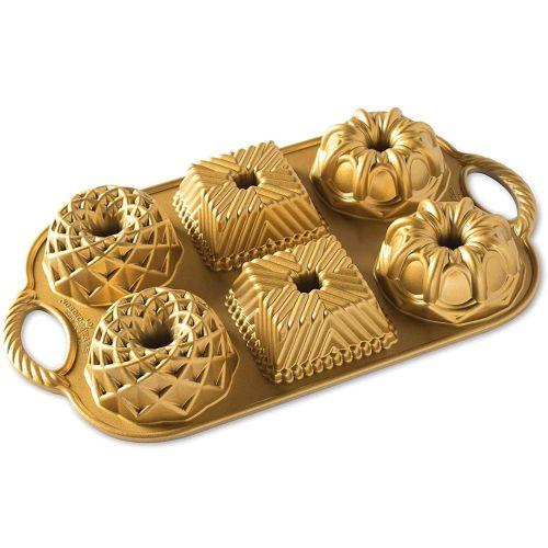 Nordic Ware / Hliníkové minibábovky Geo Bundtlette Gold
