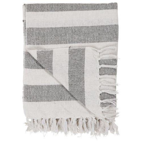 IB LAURSEN / Bavlnený prehoz Black Stripes 130x160 cm