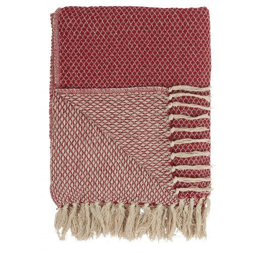 IB LAURSEN / Bavlnený pléd Cream & Red Pattern