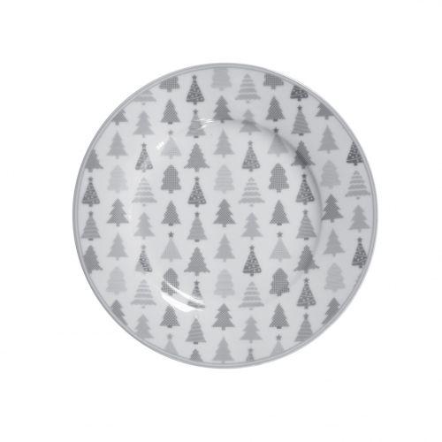 Krasilnikoff / Porcelánový dezertný tanier Christmas Trees
