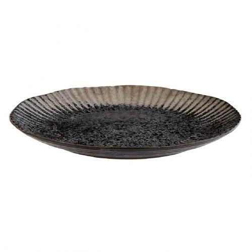 MADAM STOLTZ / Čierny keramický tanier Black Silver Plate