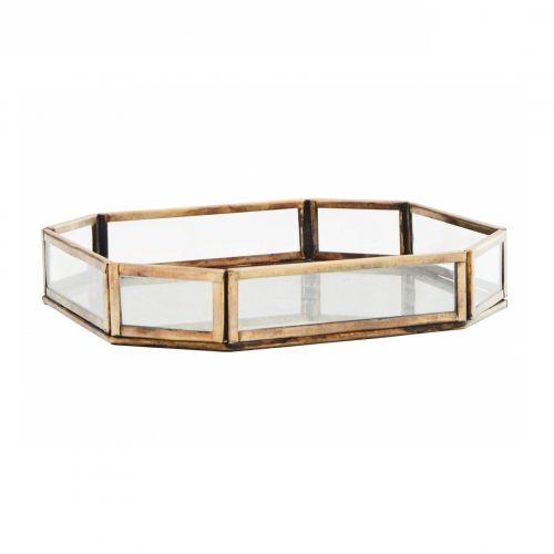 MADAM STOLTZ / Sklenený box Antique Brass 18×18 cm