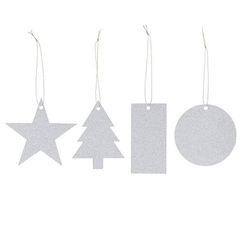 Bloomingville / Vianočné štítky Silver - 8 ks