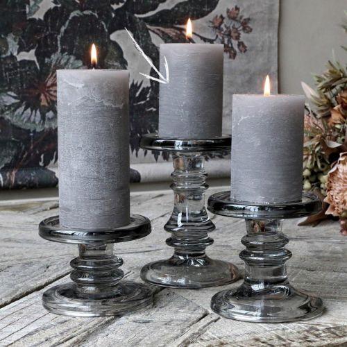 Chic Antique / Sklenený svietnik Candlestick Coal 16 cm