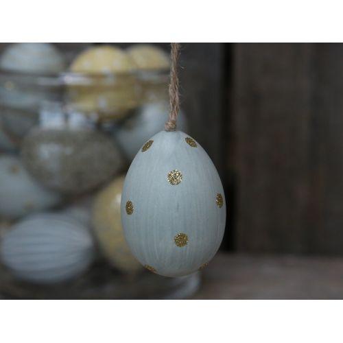 Chic Antique / Závesné plastové vajce Light Blue Dots