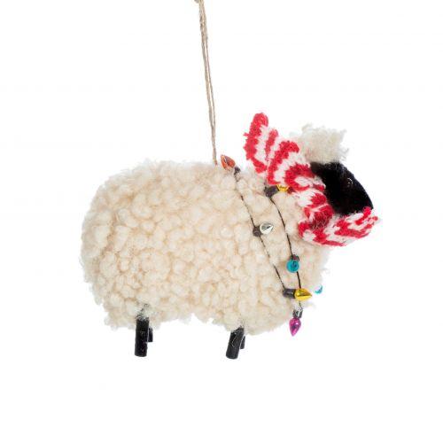 sass & belle / Vlnená vianočná ozdoba Sheep in Scarf