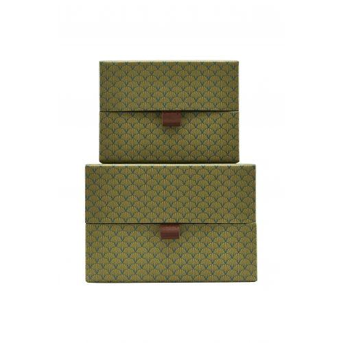 House Doctor / Úložný štvorcový box Fan Green