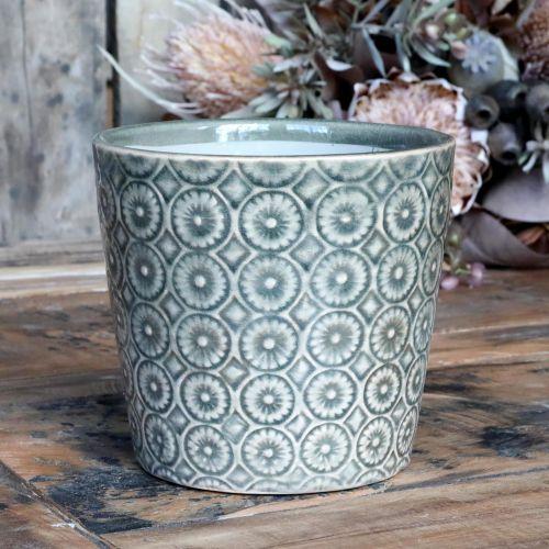 Chic Antique / Keramický obal na kvetináč Antique Verte 13 cm