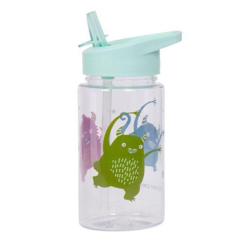 A Little Lovely Company / Detská fľaša so slamkou Monsters 450 ml + samolepky