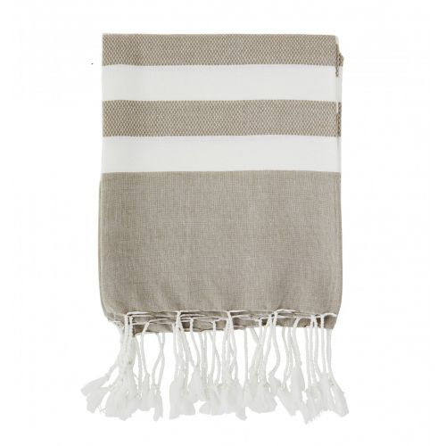 MADAM STOLTZ / Bavlnená osuška Sand Striped 100×180 cm