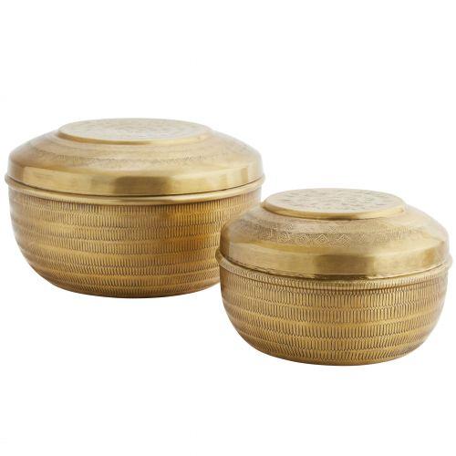 MADAM STOLTZ / Guľatá hliníková krabička Carved Gold