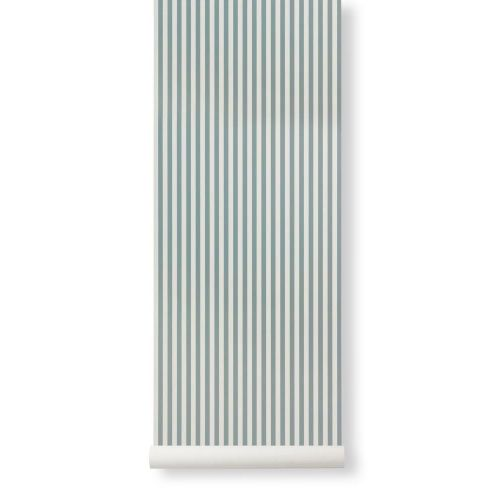 ferm LIVING / Tapeta Thin Lines Dusty Blue/Off White