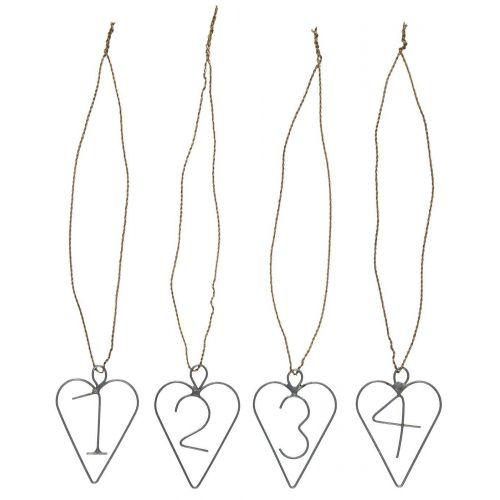 IB LAURSEN / Kovové štítky na adventný veniec Heart - set 4 ks