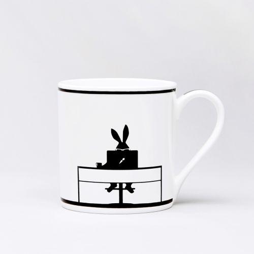 HAM / Porcelánový hrnček s králikom Working Rabbit