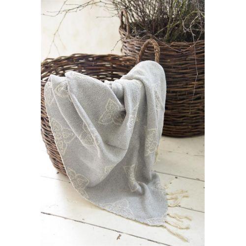 Jeanne d'Arc Living / Pléd z recyklovanej bavlny Woven Grey