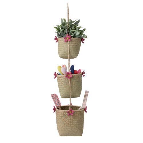 rice / Závesné košíky Pink Flowers