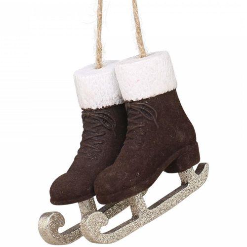 Chic Antique / Velúrová vianočná ozdoba Skates Mocca 7,5 cm