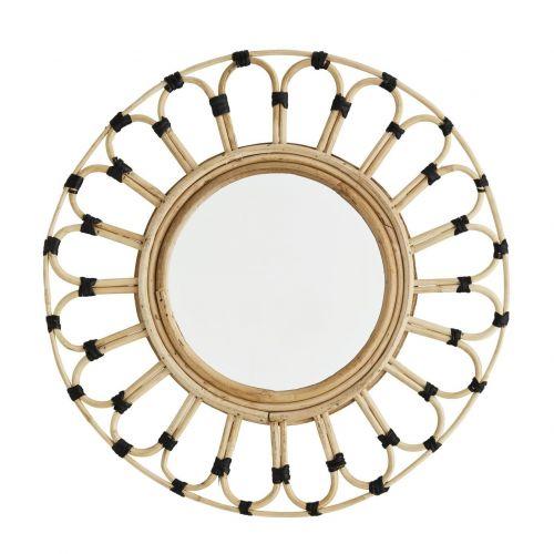 MADAM STOLTZ / Okrúhle zrkadlo s dekoratívnym rámom Round Bamboo Frame
