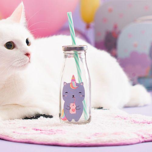 sass & belle / Sklenená fľaštička so slamkou Luna Caticorn