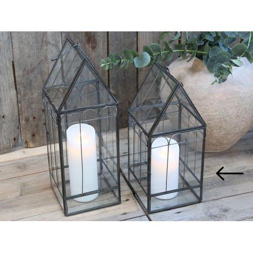 Chic Antique / Sklenený lampáš Antique Coal 36cm