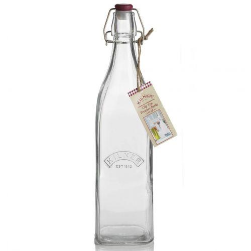KILNER / Hranatá fľaša s klipsou 1 l