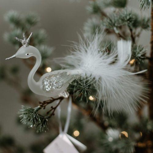 GLASSOR / Sklenená labuť na štipci Rose Silver