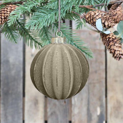 Chic Antique / Velúrová vianočná ozdoba Ball Latte 11 cm