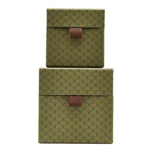 House Doctor / Úložný štvorcový box S Fan Green