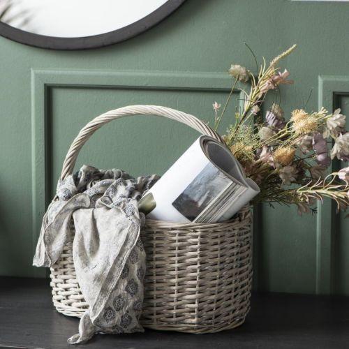 IB LAURSEN / Prútený košík Oval Grey Willow