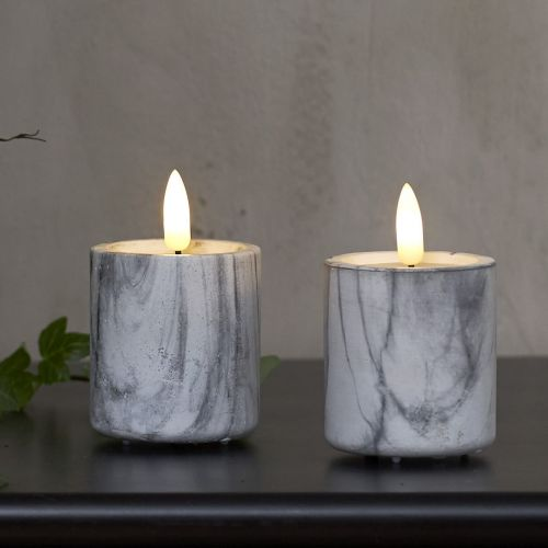 STAR TRADING / Sviečka LED Flamme Marble Grey - Set 2 ks