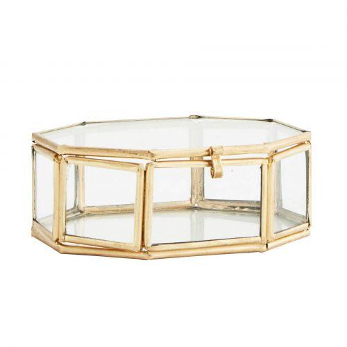 MADAM STOLTZ / Sklenený box Clear Octagonal Brass