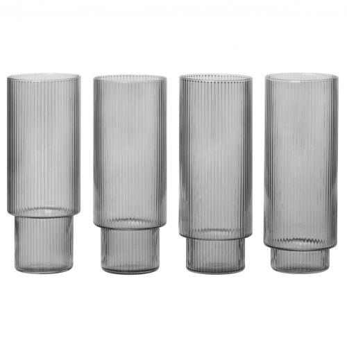 ferm LIVING / Vysoké poháre Ripple Smoked grey - set 4 ks