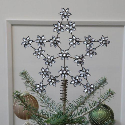 Chic Antique / Vianočná hviezda na stromček Antique Brass Rhinestones