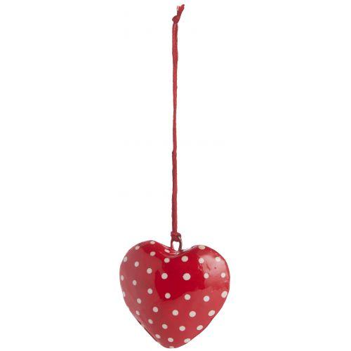 IB LAURSEN / Vánoční mini ozdoba Heart Red/grey dot