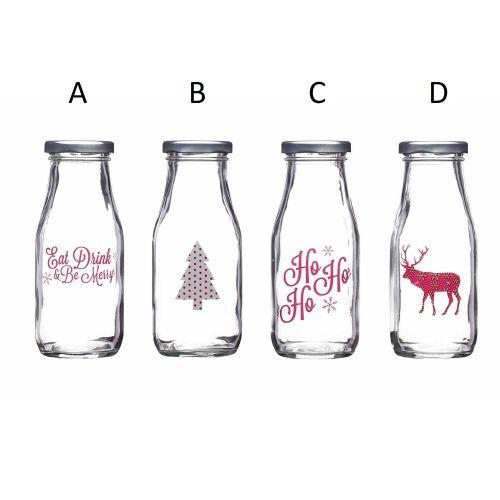Kitchen Craft / Skleněná lahev na mléko Christmas 300ml