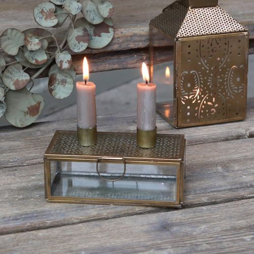 Chic Antique / Svietnik na dve sviečky Box Antique Brass