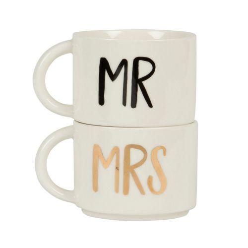 sass & belle / Keramická sada hrnčekov Mr Mrs