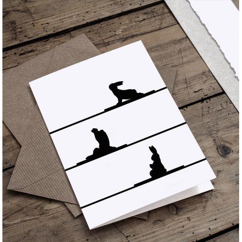 HAM / Papírové přání s králíky Yoga Rabbit