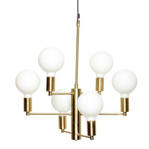 Hübsch / Zlatý kovový luster Brass (vrátane 6 LED žiaroviek)