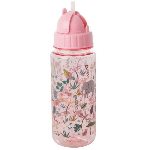 rice / Detská fľaša so slamkou Jungle Animals Pink 450 ml